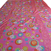 Single or Twin Mod Vintage Bedspread.  Hot Pink with Bright Mod Flowers