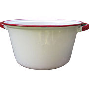 White Enamelware Soup Pot with Red Trim.  Wonderful Farmhouse or Cottage Decor.