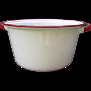 White Enamelware Soup Pot with Red Trim.  Wonderful Farmhouse or Cottage Decor.