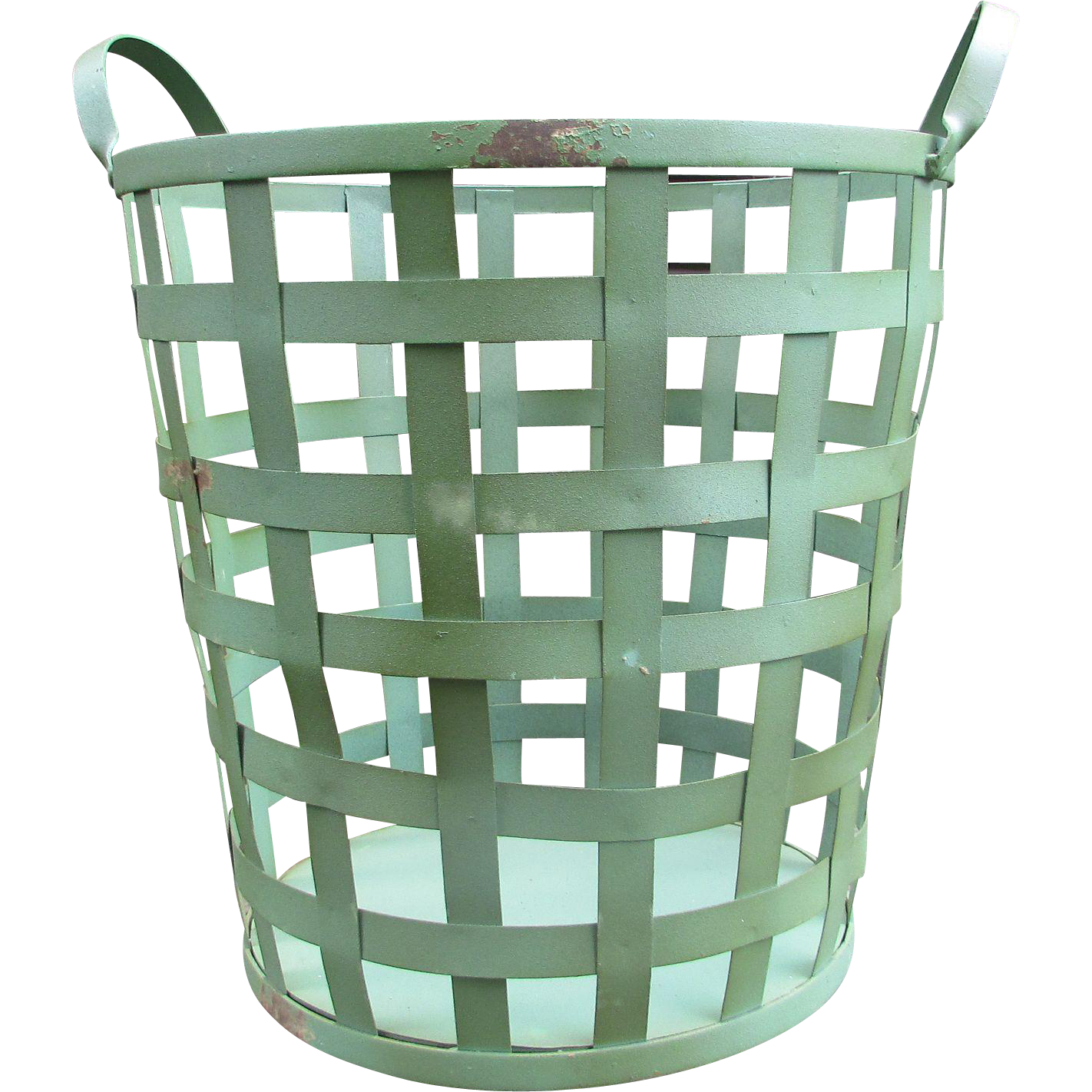 vintage metal basket tall laundry basket farmhouse decor porch or from old school relics on. Black Bedroom Furniture Sets. Home Design Ideas