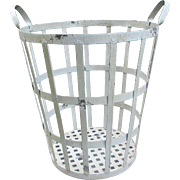 Vintage Metal Basket. Tall Laundry Basket. Farmhouse Decor. Porch or Garden Basket.