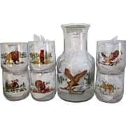Sunoco Collectible Set of 6 American Wildlife Glasses and One Pitcher with Lid.