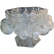 Vintage Hexagon Glass Punch Bowl with Pedestal and 12 Glasses. Mid-Century with Eagle Star Pattern