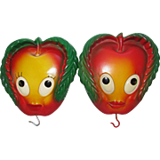 Apple Chalkware Wall Hangings. Kitchen Decor. Set of 2 Apple Faces