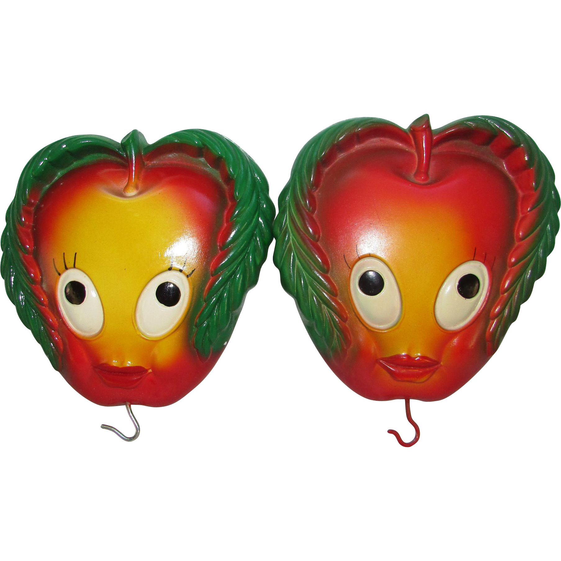 Apple chalkware wall hangings kitchen decor set of 2 for Apple kitchen decoration set