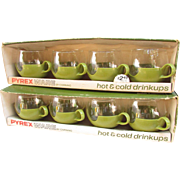 1970s Pyrex Ware Drinkups. Hot & Cold. 8 oz. Mugs. Glasses with Plastic Holders.  Avocado Green.  Hot or Cold.