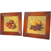 Set of 2 Mid Century Framed Fruit Prints for Farmhouse, Country Kitchen. Apples. Cherries. Nuts. - Red Tag Sale Item