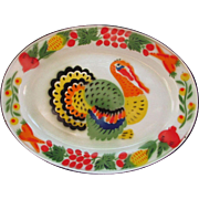 Enamelware Turkey Platter, Oval Shaped Painted with Vibrant Colors Over White Enamelware