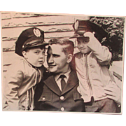 Vintage Large Black and White Photograph of a Policeman / Fireman and Boys, on Sturdy Stock