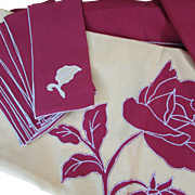 Tablecloth with 8 Unused Napkins, Burgundy and Gold. Harvest Colors. Table Cloth. Napkins with Appliques. Never Used.
