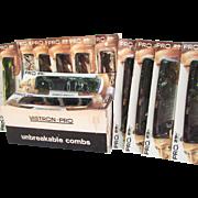 1 Dozen VINTAGE Combs IOB. Men's Vistron Pro. Unbreakable Combs. NOS. Original Box. One Dozen. New. Sealed