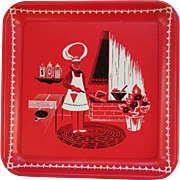 Square Picnic Tray. Red and White. Chef Serving Tray. Retro. Midcentury. Vintage