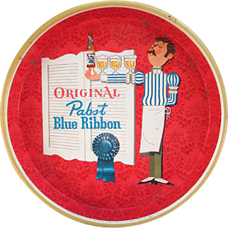 Pabst Blue Ribbon Beer. Round Metal Vintage Beer Tray.