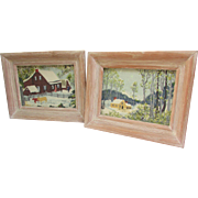 Set of 2 Framed Barkcloth Scenes in Light Wooden Frames. VINTAGE Riverdale Fabric.  Bark Cloth.  Framed with Glass.