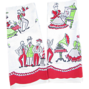 Vintage Kitchen Tea Towels. Dish Towels. Set of Two Matching Towels. Red. White. Green. Early 1900s Design. Folk Art.