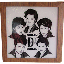 Vintage Duran Duran Black Image's on White Painted Glass In Original Cardboard Frame.