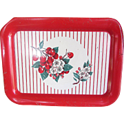Gorgeous Shabby Chic Metal Tray. Red and White Tray. Midcentury. Vintage. Farmhouse. Cottage-Style. Tea Tray