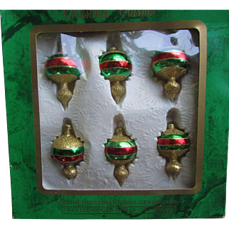 6 Glittery Hand Decorated Glass Christmas Tree Ornaments.  Old World Craftsmen. In Original Box. Hand Painted. Gold Glitter