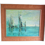 Impressionist  Mid-Century 1950's or 60's Oil Painting on Artist Board by Mohler, Burlap Covers Wood Frame