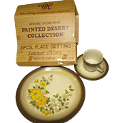 One 3 Pc. Place Setting of Genuine Stoneware. Painted Desert Collection by Wallace Heritage International. Summer Morn. Platter. Mug. Saucer. NOS in Original Box