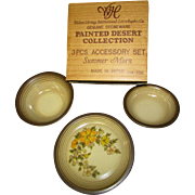 Vintage Genuine Stoneware. 3 Piece Accessory Set. Salad Plate. Cereal Bowl. Dessert Dish. Painted Desert Collection by Wallace Heritage International. NOS in Original Box. HM-456