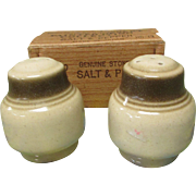Vintage Genuine Stoneware Salt and Pepper Shakers. Painted Desert Collection by Wallace Heritage International. NOS in Original Box. HD-13