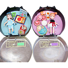 1965 Hasbro Dolls.  2 Hat Box Series Dolly Darlings in Original Cases with Accessories. Cathy Goes to a Party and Karen Has a Slumber Party