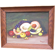 Vintage framed Oil Painting on Board.  Impressionism, Fruit Still Life. Signed 1971