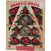 Red Glass Shiny Brite Christmas Tree Ornaments In Original VINTAGE Box. 1950s. Made in USA