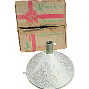 Vintage Evergleam Revolving Christmas Tree Stand.  Musical Stand Plays Silent Night. Mid Century