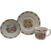 3 Pc. Place Setting. Vintage Bunnykins China.  Cereal Bowl. Mug. Plate. Royal Doulton.  English Fine Bone China.