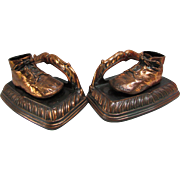 Vintage Bronzed Baby Shoe Bookends.