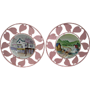 Retro Hand Painted Plates from France with Pink Metal Leafs in Circular Pattern, 1950s. Very Cottage Chic or Shabby Chic.