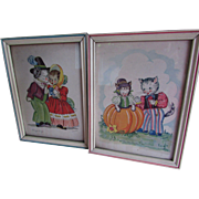 Peter Peter Pumpkin Eater & Georgie Porgie Nursery Rhymes Lithographs Signed K. Townsend