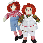 Vintage 1970s Handmade Raggedy Ann and Raggedy Andy Dolls.