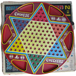 Ohio Art Chinese Checkers and Regular Checkers Board.  Tin Game Board in Original Box. Vintage Splendor.