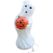 "35"" GHOST Blow Mold. LARGE Vintage Halloween Decoration,  Very Nice Condition. Lighted Ghost Holding Jack-O-Lantern Pumpkin"