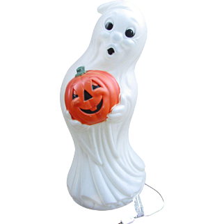 "35"" GHOST Blow Mold. LARGE Vintage Halloween Decoration, Nice Vintage Condition. Lighted Ghost Holding Jack-O-Lantern Pumpkin"