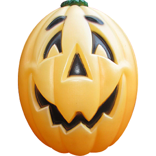"Large 24"" Vintage Blow Mold Pumpkin. Lighted Halloween Decoration. Excellent Condition"
