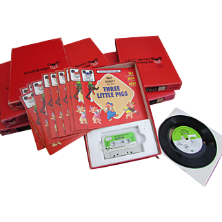 8 Different Walt Disney Read Along Kits. 45 Records Cassette Tapes Original Boxes Classroom Listening. Snow White, 3 Pigs and More