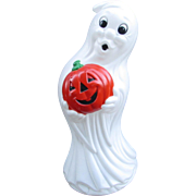"LARGE 35"" Blow Mold GHOST Holding Pumpkin.  Vintage Halloween Decoration, Very Nice Condition.  Lighted Ghost Holding Jack-O-Lantern Pumpkin"