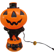 Vintage Empire Halloween Jack-O-Lantern Man with Black Cat and Top Hat. Blow Mold. Pumpkin. Lighted with Electrical Cord. Vintage