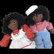 Vintage 1970s Handmade Raggedy Ann and Raggedy Andy Dolls. Black Dolls.