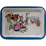 Vintage Folding TV, Bed or Lap Tray for Children. Cartoon Characters. Clown, Rabbit, Fox, Monkey, Bear, Parrot and Dalmatian
