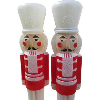 Vintage Set of 2 Nutcracker Blow Mold Soldiers with Light Cords.  Union Products.