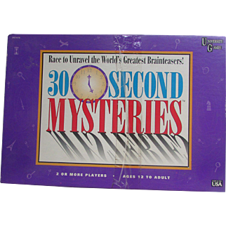 30 Second MYSTERIES Game. VINTAGE Game from University Games. Family Fun. Sealed Cards