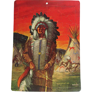 Saalfield Tray Puzzle No. 7012 American Indian Feather Headdress Chiefs 1950's Good Condition