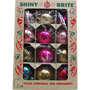 12 Shiny Brite Glass Christmas Tree Ornaments in Original Box