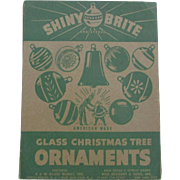 12 Striped Shiny Brite Glass Christmas Tree Ornaments in Original Box