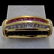 Vintage Estate Ring Diamond Ruby Sapphire Channel Set Yellow Gold - Unisex - Size 7 - 14 karat 14k